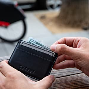 output leather wallet card wallet simple design with rfid shielding leather cow leather black