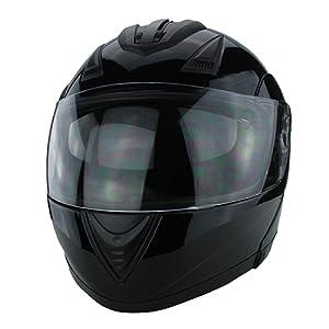 Full Face Modular Motorcycle Helmet With Dual Visor DOT Approved Gloss Black