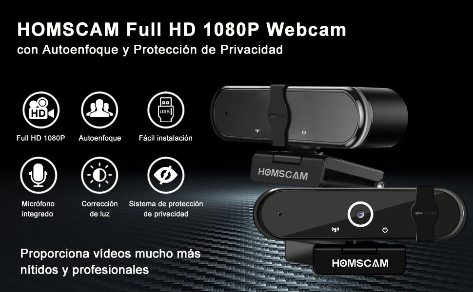 Cámara Web Webcam webcam portatil Enfoque Automático con Micrófono Estéreo 1080P Webcam de Ordenador