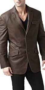 BGSD Men's 2-Button Cowhide Leather Blazer