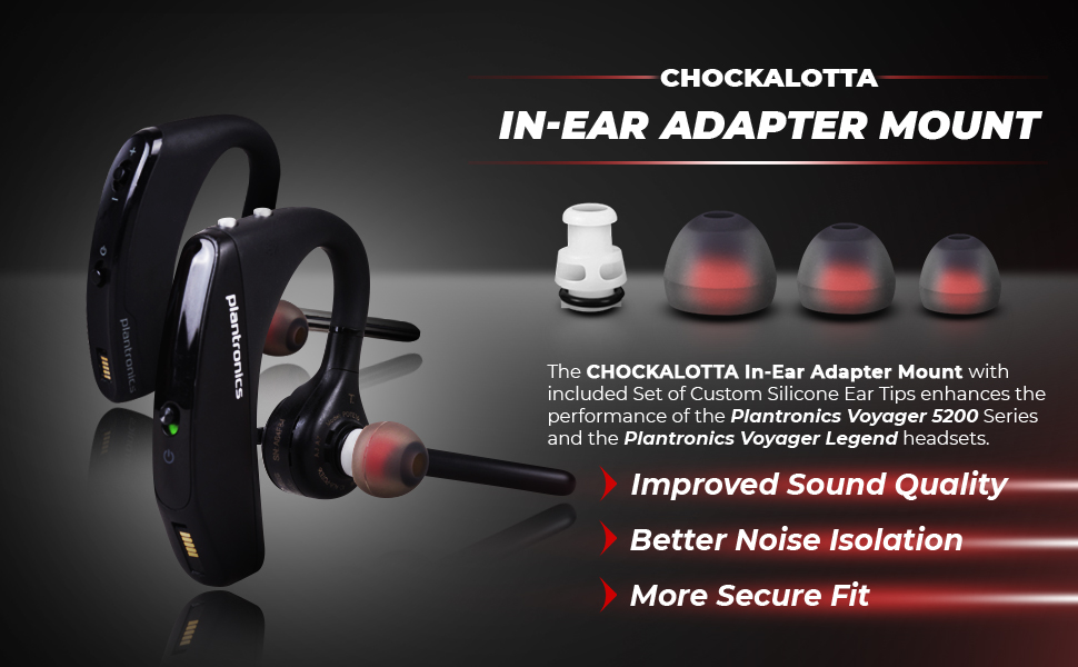 CHOCKALOTTA In-Ear Adapter Mount for Plantronics Voyager 5200 and Plantronics Voyager Legend