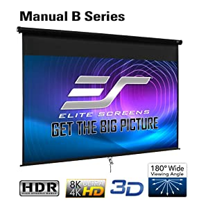 manual projector screen projection pull down elite screens home movie cinema 4k 8k
