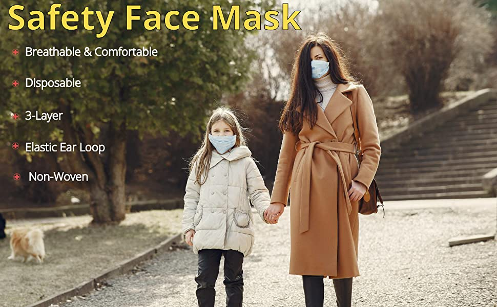 Safety face mask breathable comfortable disposable 3-layer elastic ear loop non-woven easy kids men