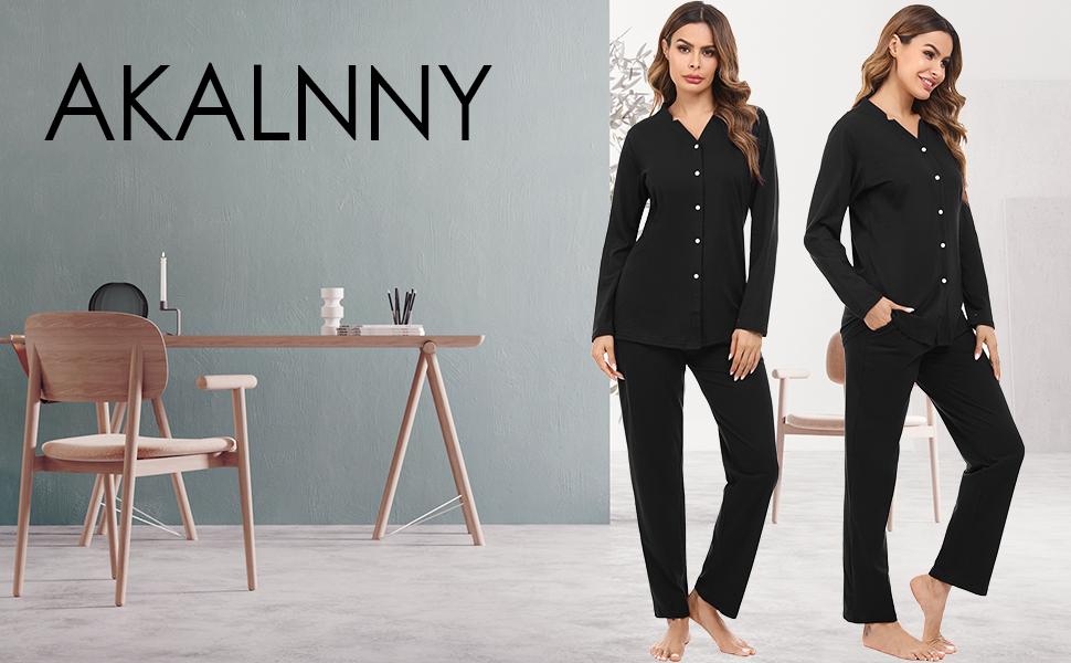 Akalnny Pyjama Femmes Coton Ensembles De Pyjamas Manches Longues v/êtement dint/érieur Femme Rayures Hiver Confortable