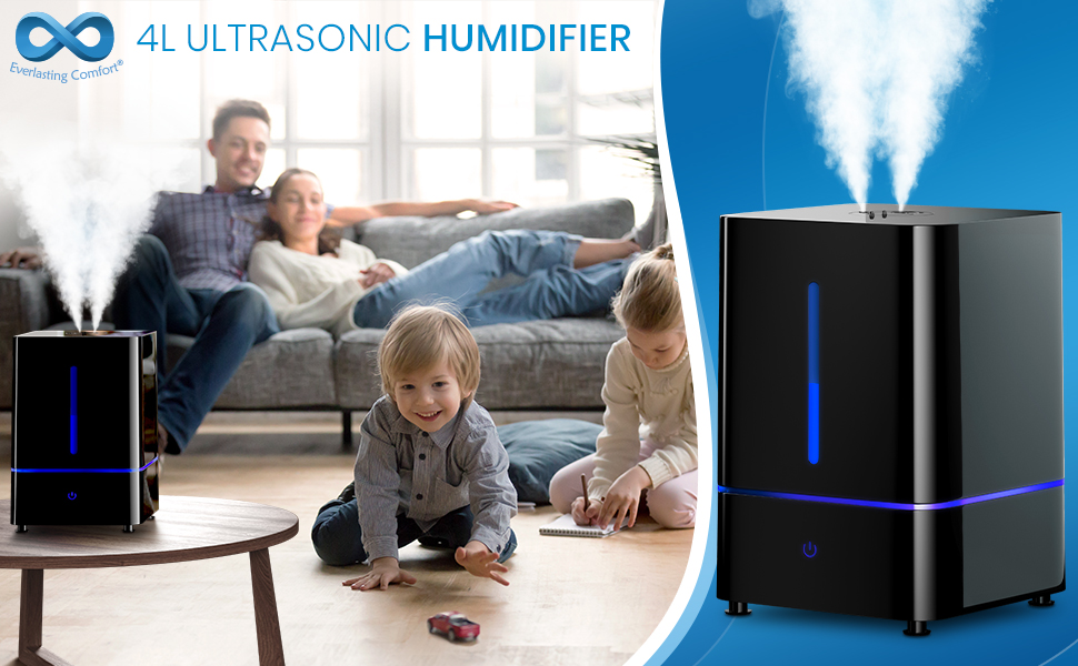 Family relaxing at home with the Everlasting Comfort Ultrasonic Humidifier