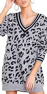v neck lepard print