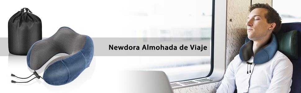 Newdora Almohada de Viaje Viscoelástica de Espuma de Memoria, Almohada de Cuello, Almohadas de Acampada, Almohada Ortopédica Cervica, Soporte de ...