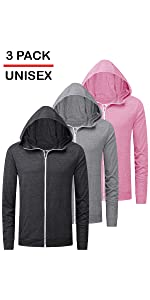 unisex cotton blend full zip hoodies