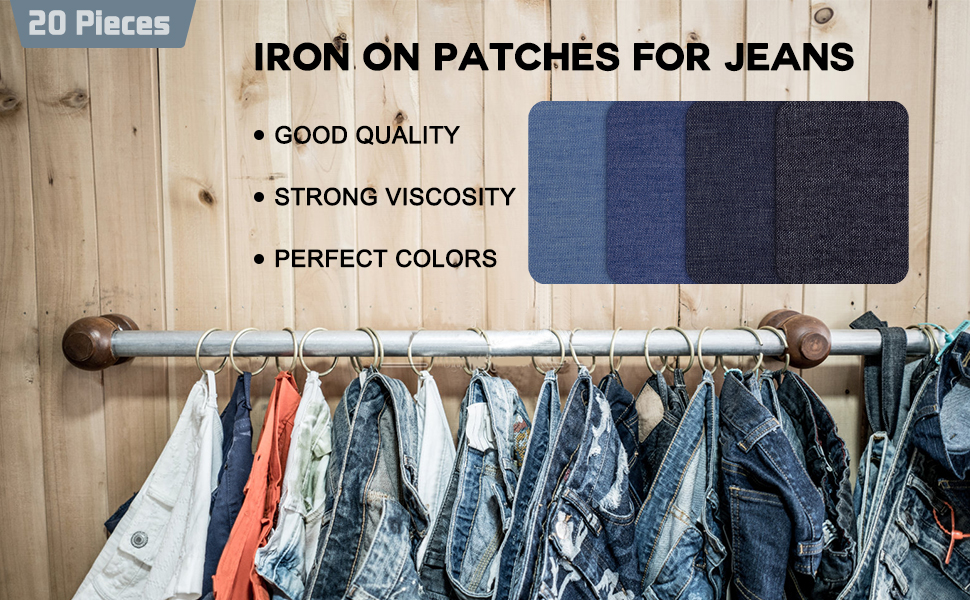 4PCs Jeans Iron-on Patches Clothes DIY Repair Pants Knee Hole Repair Appli Q*BW