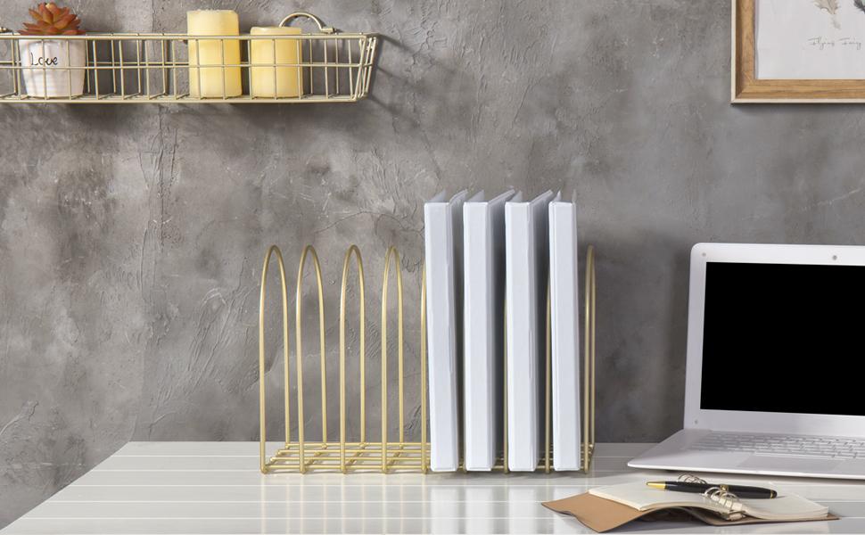 MyGift Vintage Brass Toned Metal Wire Arch Desktop 8-Slot File Folder Rack