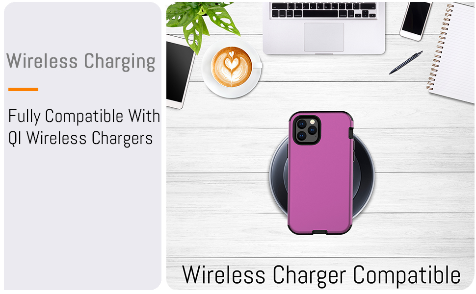 """iPhone 11 Pro 5.8"""" Heavy Duty Case Cover Compatible with Fast Charge QI Wireless Charger"""
