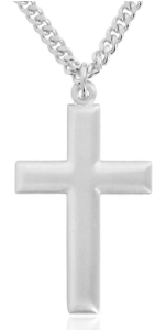 Sterling Silver Matte Beveled Cross