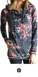 Minipeach Women's Pullover Long Sleeve Hoodies Coat Loose Casual Sweatshirts with Pocket