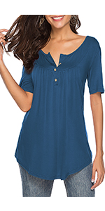 V Neck Button Up Shirts