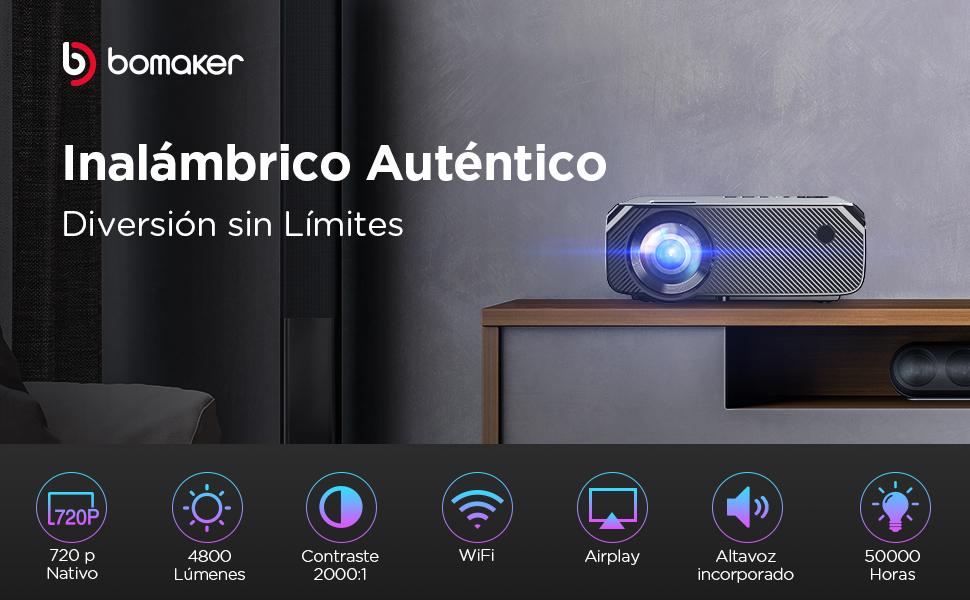 Proyector WiFi, 4800 Lúmenes BOMAKER Resolución Nativa 1280*720P ...