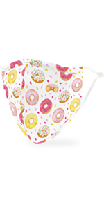 Adult Reusable, Washable Cloth Face Mask With Filter Pocket - Donuts