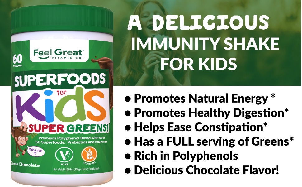 kids superfood greens wellness solution delicious healthy digestion polyphenols chocolate flavor