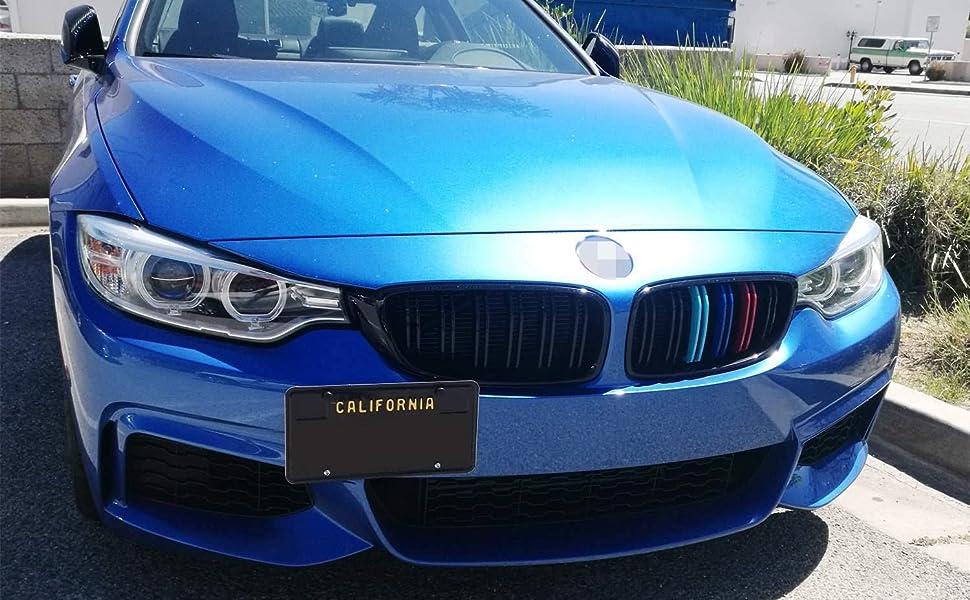 Blue Aluminum Side Mount Bumper License Plate Mounting Bracket Plate for BMW
