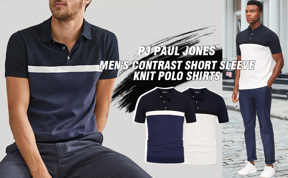 PJ PAUL JONES mens contrast color block polo shirts short sleeve polo collar knit golf shirt for men