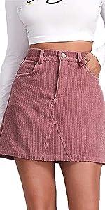 Pink Corduroy Skirt