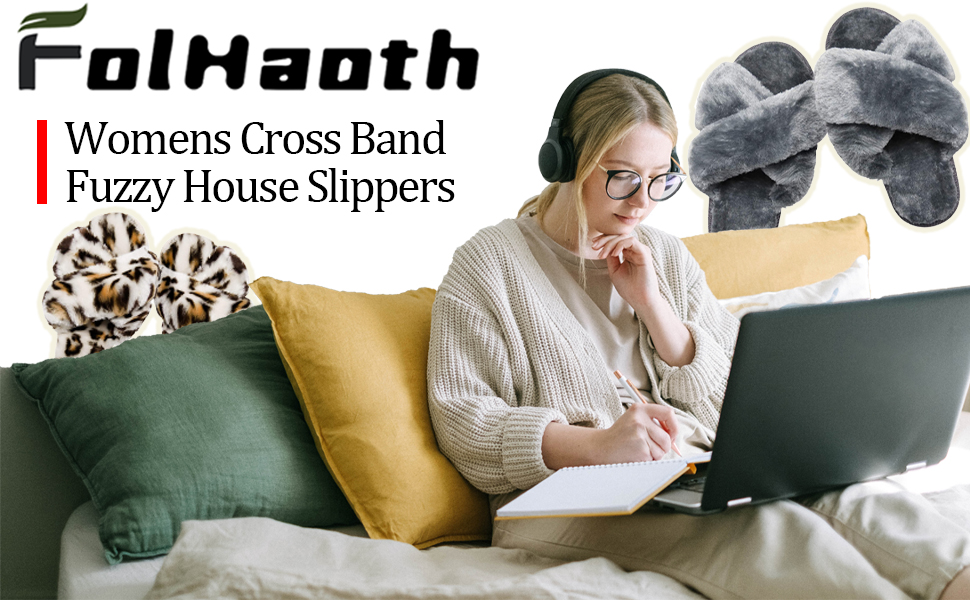 womens fuzzy house cross band slippers