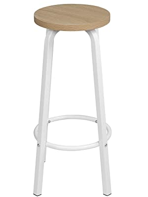 WOLTU 2X Sgabelli da Bar con Poggiapiedi Seduta Tonda Alta Sedia per Cucina Ristorante in Acciaio e Legno Rovere Chiaro BH237hei 2