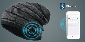 Qshell Trendy Warm Soft Knit Slouchy Music Beanie Skully Hat avec Casque st/ér/éo sans Fil Mic Hands Free Rechargeable Battery for Fitness Sports de Plein air Ski Running Patinage Walking