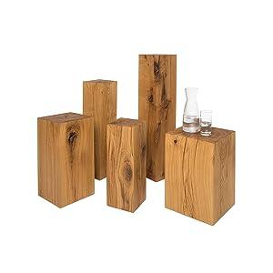 Holzsäule Eiche massiv Stele Deko gehobelt 9,5 x 9,5 x 28cm