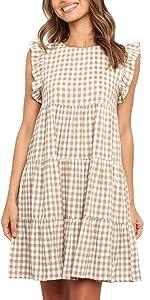 Casual Plaid Ruffle Mini Dress