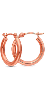 Tiny gold hoops 14k rose gold