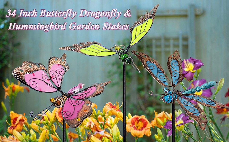 34 Inch Butterfly Dragonfly & Hummingbird Garden Stakes