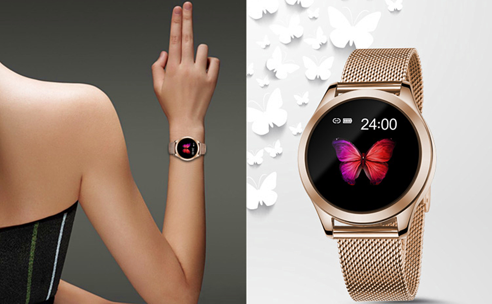 SD Butterfly Series Rose Golden Smart Watch for Ladies Women Girls Smartwatch Activity Tracker with Heart Rate Monitor Pedometer Step Calories Counter ...