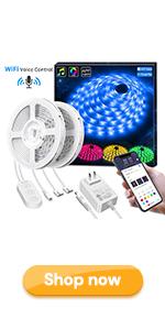 32.8Ft RGB led strip light works with alexa google home wifi wireless light strip for room bedroom