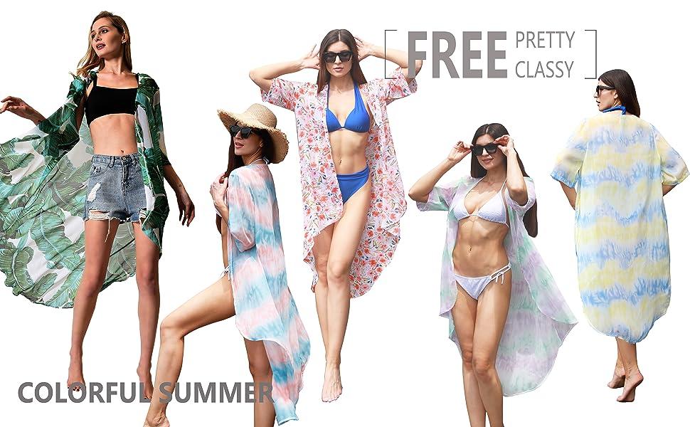 Beach cover up green Kimono Beachwear palm leaf ref floralchiffon sheer bohemian pool summer