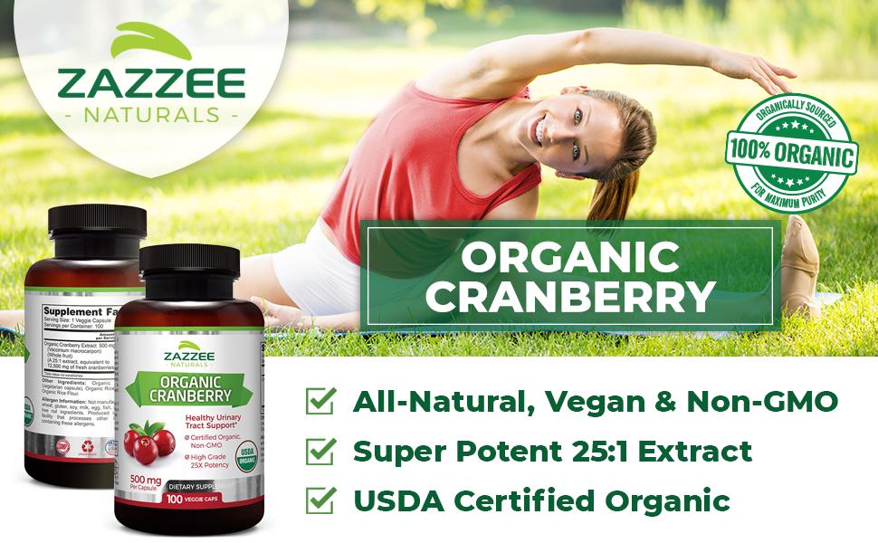 Zazzee Naturals Organic Cranberry - USDA Certified Organic, Potent 25:1 Extract, All-Natural & Vegan