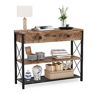 Onsole Table d'angle en bois avec 2 tiroirs et étagère de rangement 100 cm