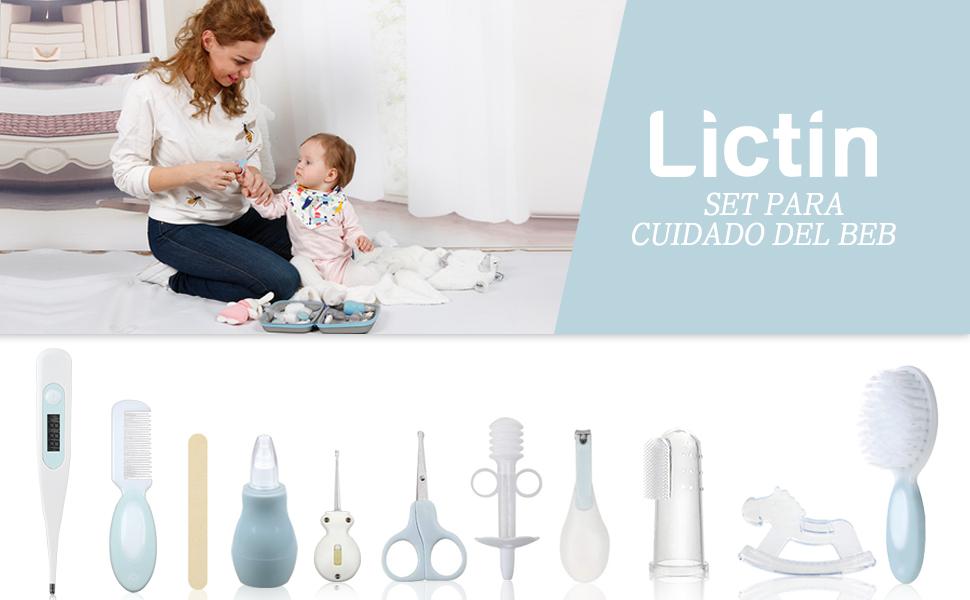 Lictin Set para Cuidado del Bebé - 15 Piezas Kit de Aseo para Bebés con Cuchara de Oreja con LED Cepillo de Pelo y Peine,Cortador de Uñas Cepillo de Dientes de Dedo