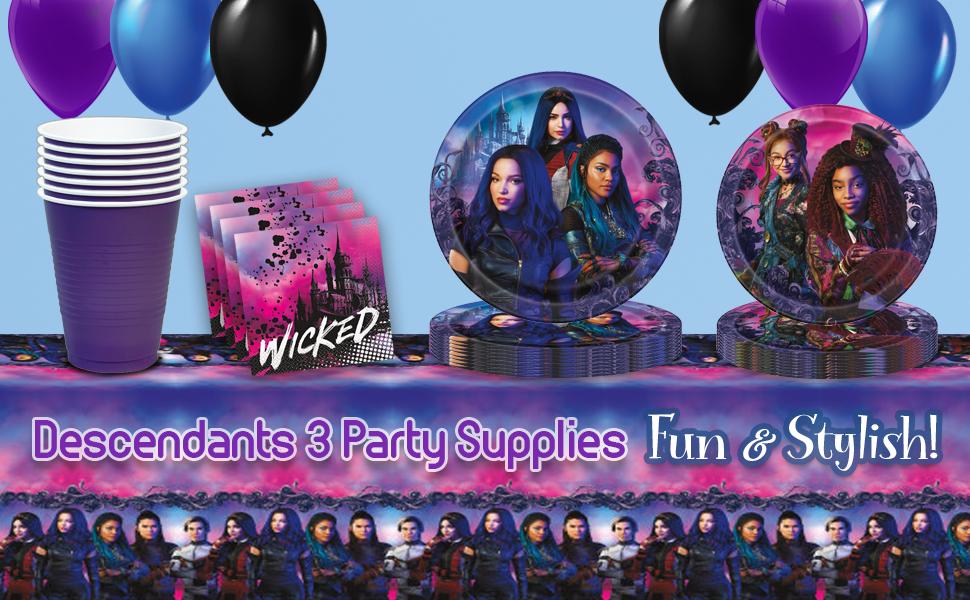 napkins Descendants 3 Birthday Party Pack Plates balloons