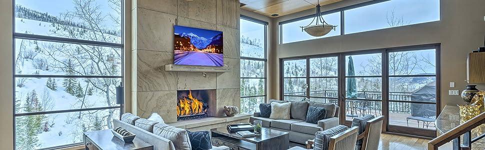 Telluride المعاصرة الحديثة غرفة المعيشة ديكور المنزل تزلج ريزورت أمازون بانر