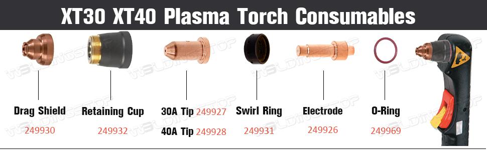 Plasma Tip 40A Electrode 249926 249928 for Spectrum 625 X-TREME XT40 XT40M PK20
