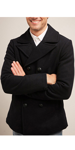 mens wool pea coat with removable bib