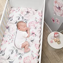 Botanical Baby Sheet with Baby Sleeping