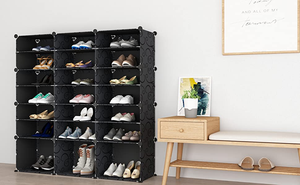 Shoe Storage Plastic Large Sneaker Storage Organizer Shoe Rack Storage System with Doors for Boots