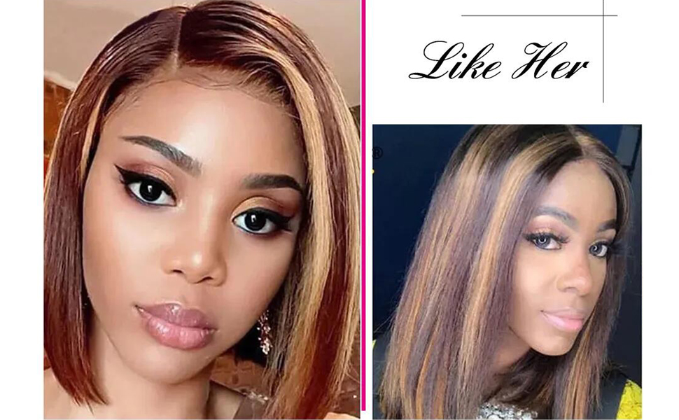 ombre highlight lace front wig human hair