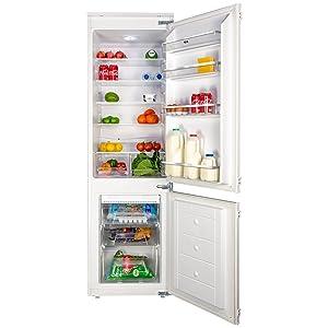 70/30 integrated built in frost free fridge freezer in white with adjustable legs reversible door