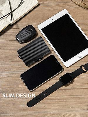 schermato intelligente carbon black slim sottile badge pelle portacarte piccolo iclip tessere moero
