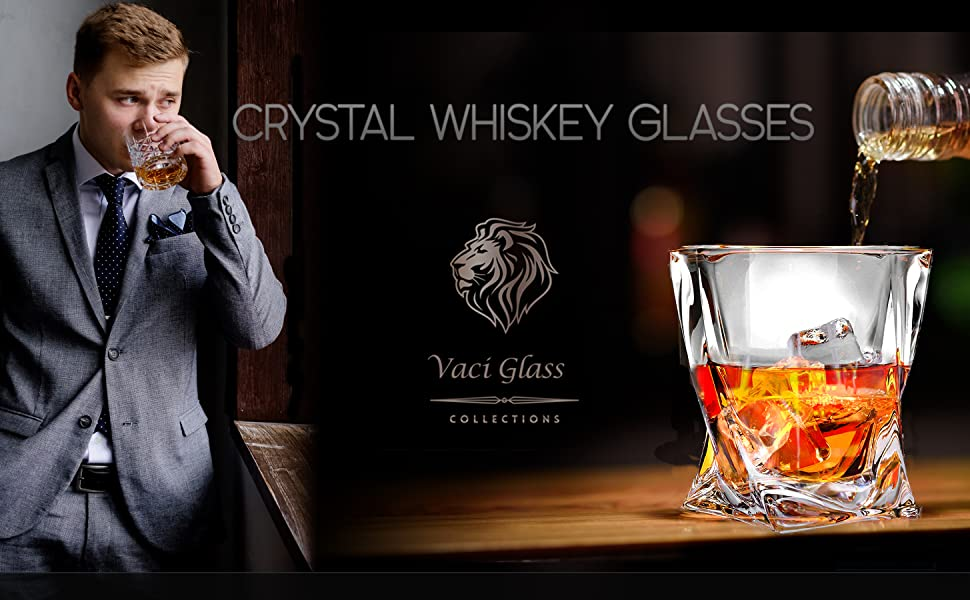 crystal glasses wine decanter barware set rocks whiskey glass double old fashioned of highball water