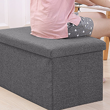 linen ottoman storage boxes for bedroom living room office kid toys 55 liter 330 lbs 150kg pouffes