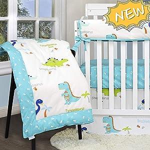 Green Dinosaur Mesh Bumper for Mini Crib Breathable Cot Liner for Boys 4pc Bumbers 1pc Elastic Sheet