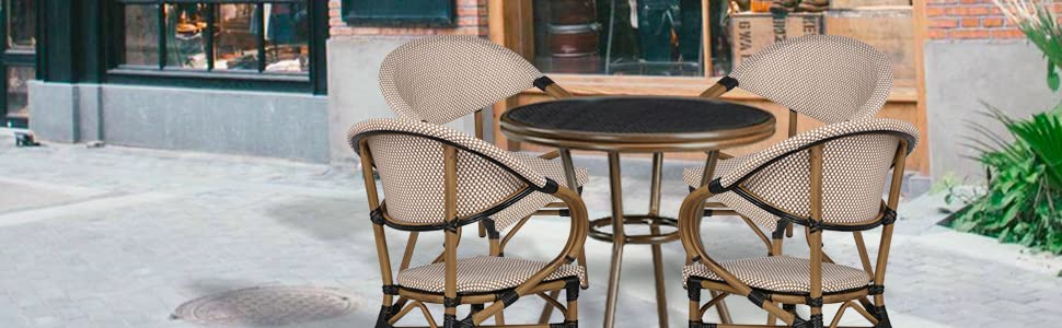 Stackable Outdoor Patio Dining Chairs Set of 4 Aluminum Frame Balcony Textilene Mesh Fabric
